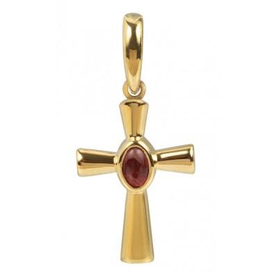 Крест малый с кабошоном, серебро 925° с позолотой, гранат