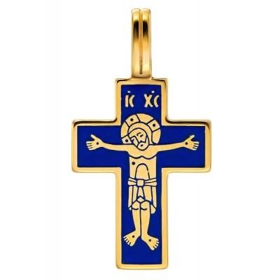 """Крест """"Лоза"""", серебро 925 пробы, позолота 999 пробы, эмаль"""